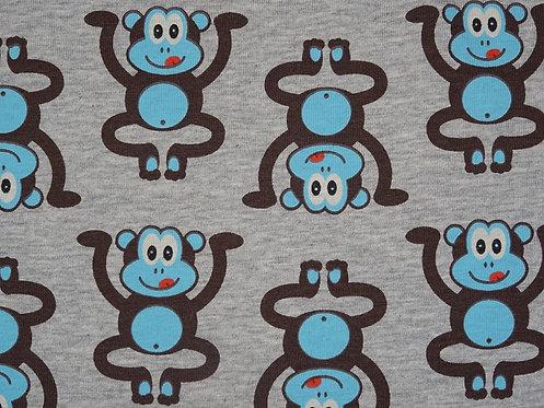Affen Jersey hellblau braun auf grau Baumwolljersey Meterware