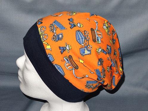 Beanie Baustelle orange Mütze Handmade genäht Jersey