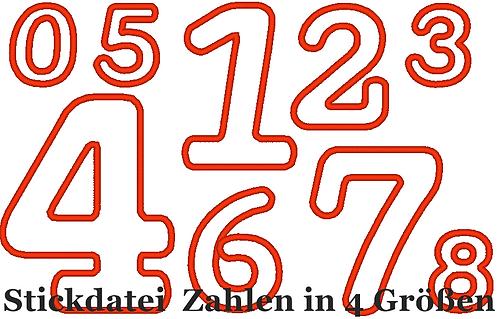 Zahlen Stickdatei in 4 Größen