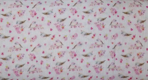 Musselin Vogel Blumen rosa weiß FVJ Fräulein von Julie