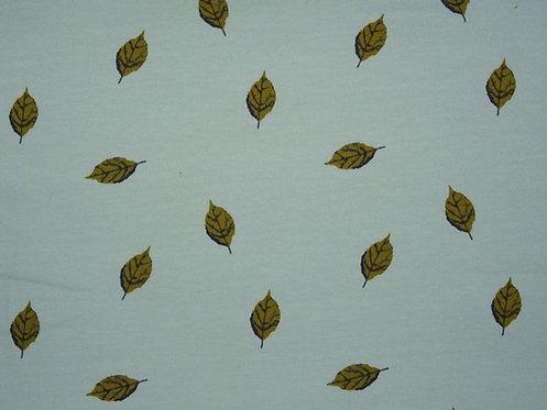 Blätter auf mint hellmint French Terry geraut Wintersweat Jersey Meterware Blatt