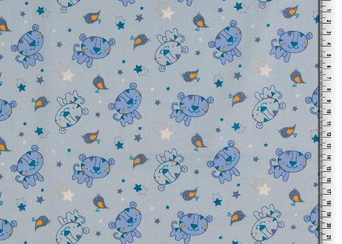 Tiger graublau blau Baumwolle Meterware
