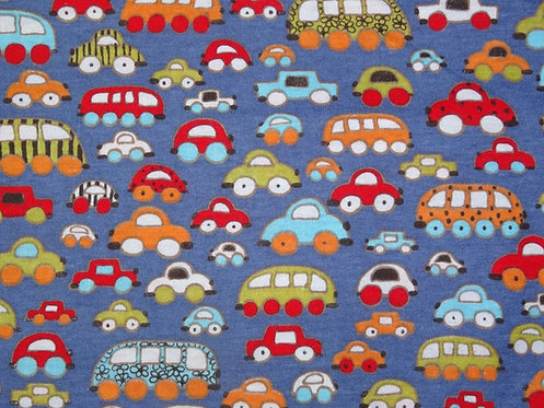 Töff Töff Auto Autos bunt auf blau Hilco Jersey Meterware Baumwolljersey