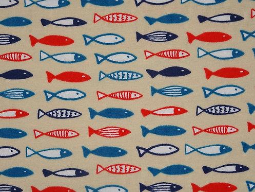 Fische auf beige Jersey Baumwolle Meterware Baumwolljersey