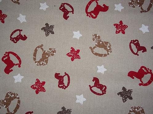Canvas Schaukelpferd und Sterne Weihnachten Baumwolle Meterware L