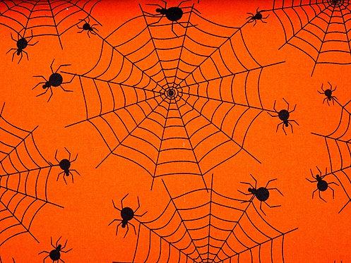 Spinnen schwarz auf orange allover Baumwolle Meterware