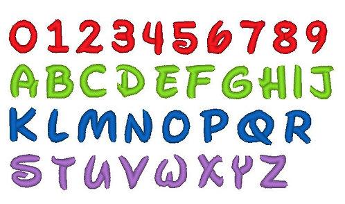 Buchstaben Zahlen in 1cm 1,5cm und 2cm Stickdatei