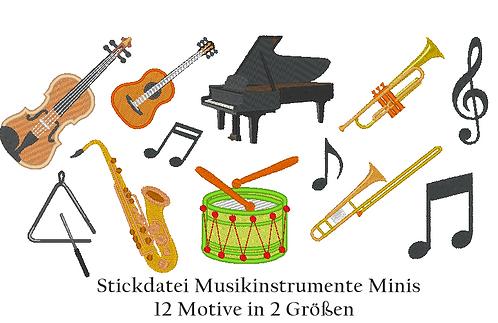 Musikinstrumente Minis Stickdatei