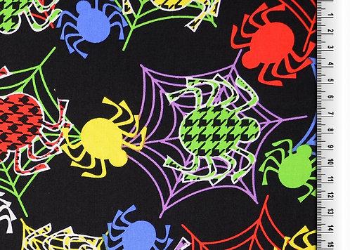 Spinnen bunt auf schwarz  allover Baumwolle Meterware