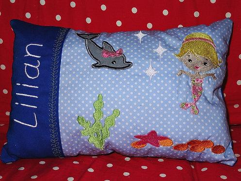 Namenskissen mit Meerjungfrau in Wunschfarbe