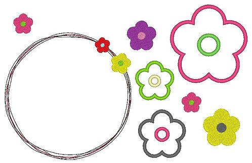 einfache Blumen Stickdatei gefüllt + Appli + doodle Button