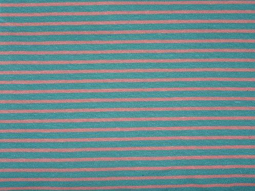 Jersey Streifen türkisblau lachs Meterware gestreift Ringel