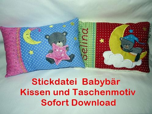 Baby Bär Stickdatei Taschenmotiv Kissen ITH
