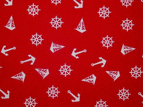 Steuerrad Anker und Segelschiffchen Baumwolle maritim rot weiß