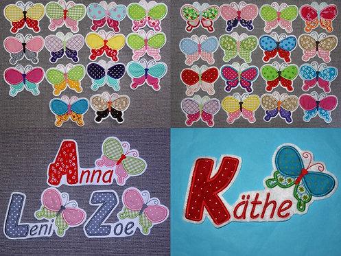 Name mit Schmetterling Aufnäher in 30 verschiedenen Farben