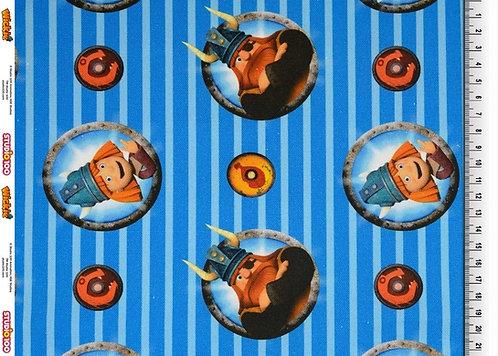 Wickie Streifen blau Canvas Baumwolle Meterware Baumwollstoff
