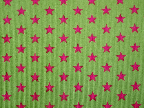 Feincord Cord Sterne hellgrün pink BW Meterware