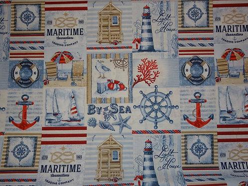 Canvas Maritim Karo Anker Steuerrad Leuchtturm Baumwolle