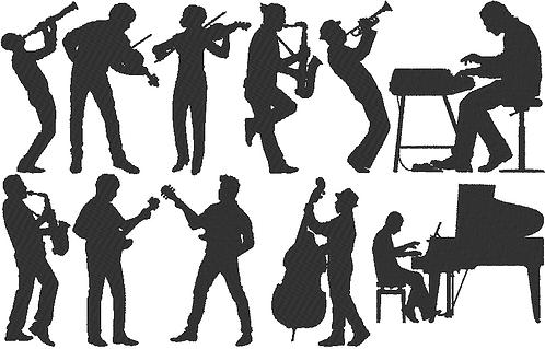Musik Stickdatei Big-Band Jazz Silhouetten
