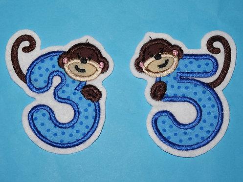 Zahl mit Affe Aufnäher in Wunschfarbe