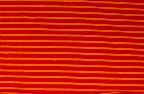 Campan Jersey Streifen rot orange Meterware gestreift Ringel