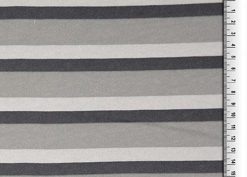 Wintersweat Sweat Streifen grau Kombistoff Meterware Baumwollswe