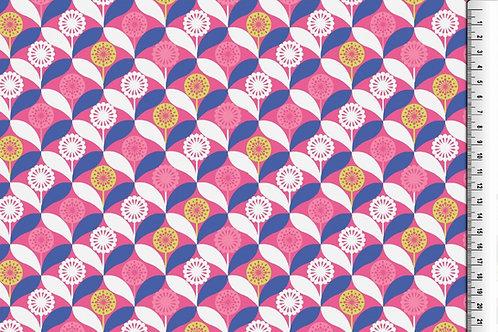 Retro Blumen Wintersweat pink blau Jersey French Terry angeraut Meterw