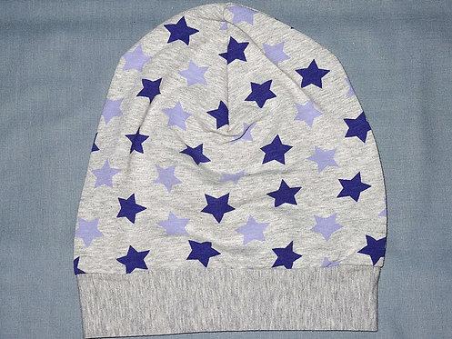 Beanie Sterne lila grau Mütze Handmade genäht Jersey Mädchen