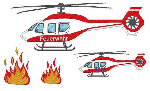 Feuerwehr Hubschrauber inkl.  Kissen ITH Stickdatei