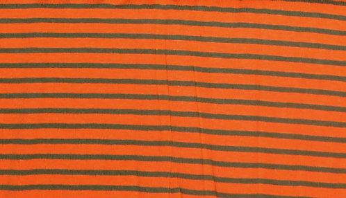 Campan Jersey Streifen  orange oliv Meterware gestreift Ringel