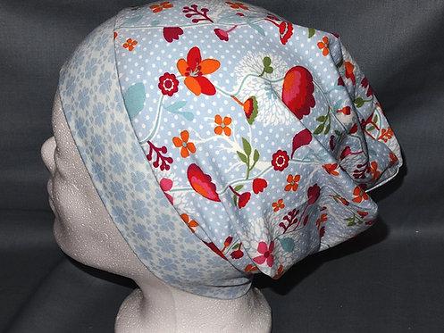 Beanie Blumen bunt hellblau Mütze Handmade genäht Jersey Mädche