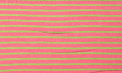 Campan Jersey Streifen  lachs rosa hellgrün Meterware gestreift Ringel