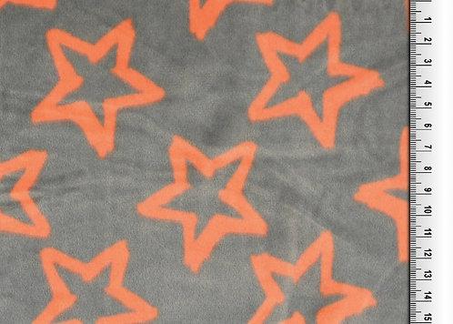 Nicky Fleece Sterne Wellness orange grau Meterware weich