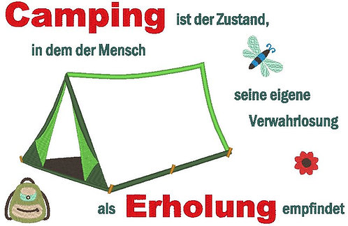 Zelt - Camping ist Erholung Stickdatei
