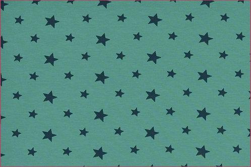 Sterne 1cm und 1,5cm türkis mit petrol Jersey Baumwolljersey Meterware
