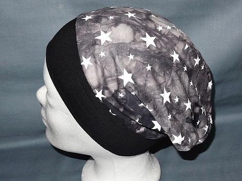 Beanie Sterne schwarz grau weiß Mütze Handmade genäht Jersey