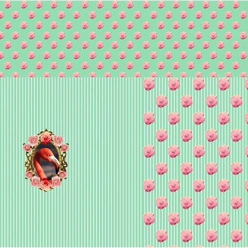 Flamingo Streifen Rosen mint grün Panel Digtaldruck Jersey Baumwollje