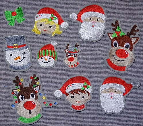 Weihnachten Schneemann Elch Weihnachtsmann Aufnäher Applikation Rentier