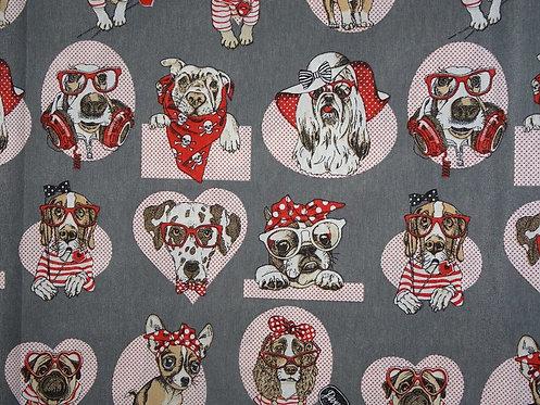 Canvas Hund Bulldogge grau rot Punkte Baumwolle