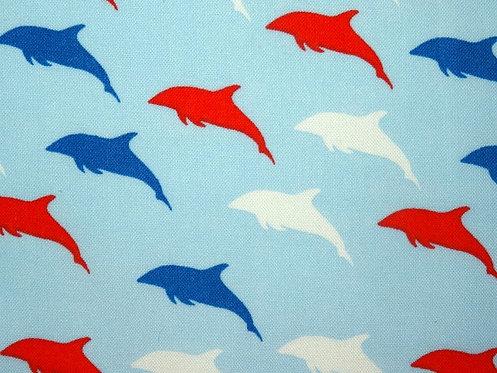 Fische Delfine Baumwolle maritim blau weiß rot