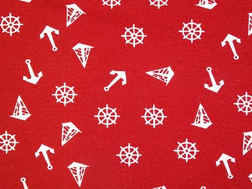 Steuerrad Boot Anker weiß auf rot Jersey Baumwolle Meterware Baumwolljerse