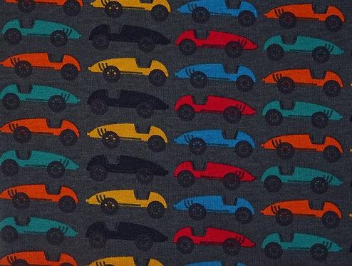 Autos auf grau leichter Jersey Meterware Baumwolljersey