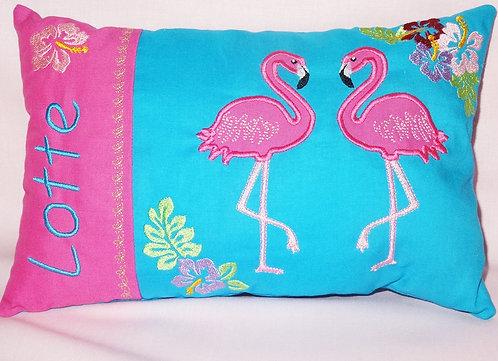 Flamingo Namenskissen in Wunschfarbe