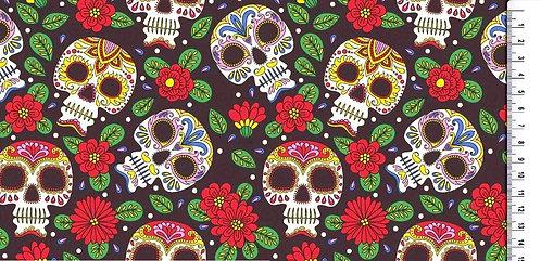Blumen Skull Zuckerschädel bunt auf schwarz Baumwolle Meterware