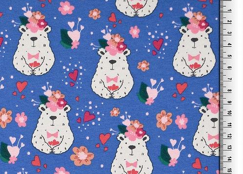 Bärchen mit Blumen blau Bär Jersey Baumwolle Meterware Baumwolljerse