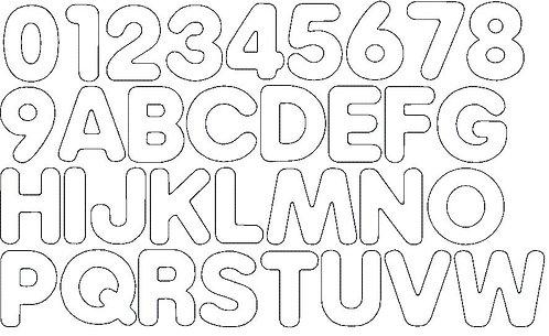 5cm Doodle Buchstaben und Zahlen Stickdatei Alphabet Zahl