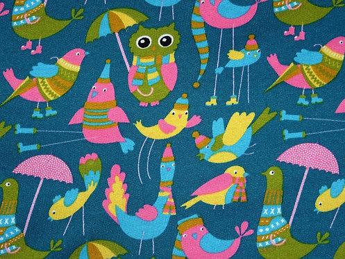 crazy Bird Vögel Eule Wintersweat Jersey French Terry angeraut Meterware Vogel