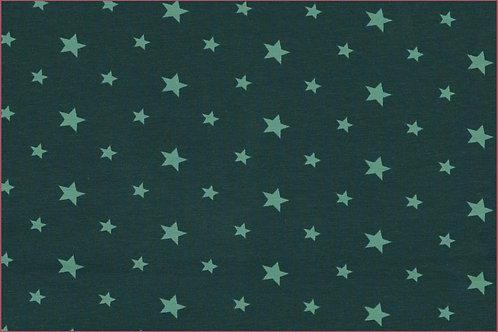 Sterne 1cm und 1,5cm petrol mit türkis Jersey Baumwolljersey Meterware