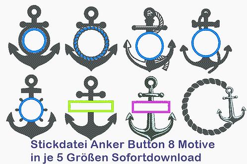 Anker Button Silhouette Stickdatei