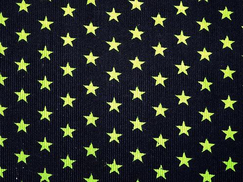 Feincord Cord Sterne schwarz  hellgrün BW Meterware